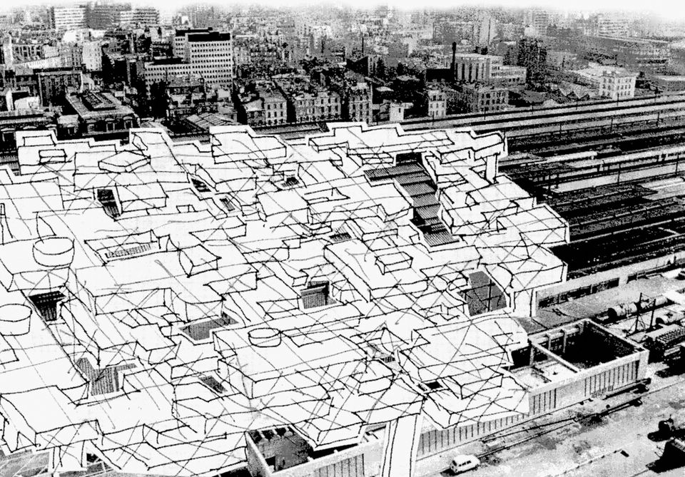 Paris railway stations, development covering the railway lines, 1964, Foto: Yona Friedman,courtesy Marianne Homiridis